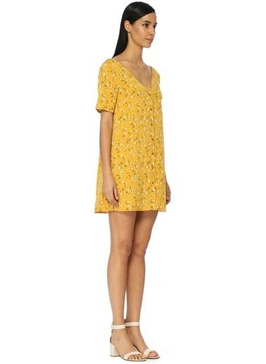 V Yaka Mini Elbise-Glamorous